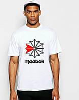 Мужская футболка Reebok, спортивная футболка Рибок, хлопок, белая