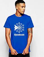 Мужская футболка Reebok, спортивная футболка Рибок, хлопок, синяя