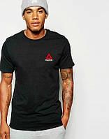 Мужская футболка Reebok, спортивная футболка Рибок, хлопок, черная