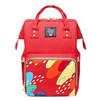 Сумка-рюкзак органайзер для мам MHZ Anello, красный с принтом
