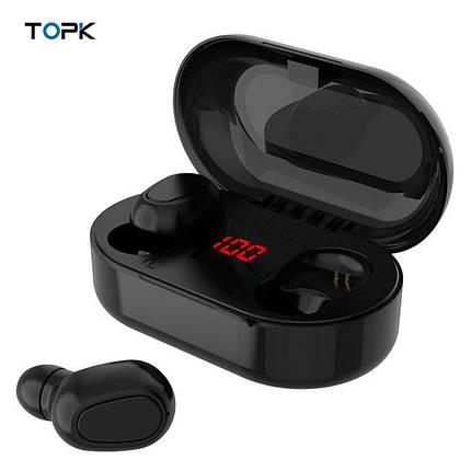 Беспроводные TWS наушники Topk L22 Bluetooth 5.0 с LED экраном (Черные), фото 2