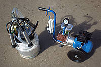Доильный аппарат АИД-1-01 с масляным вакуумным насосом и одним доильным ведром (Харьков, мехдойка)