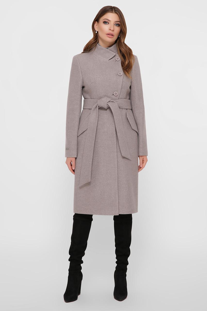 Пальто женское с воротником стойкой бежевое ПМ-97