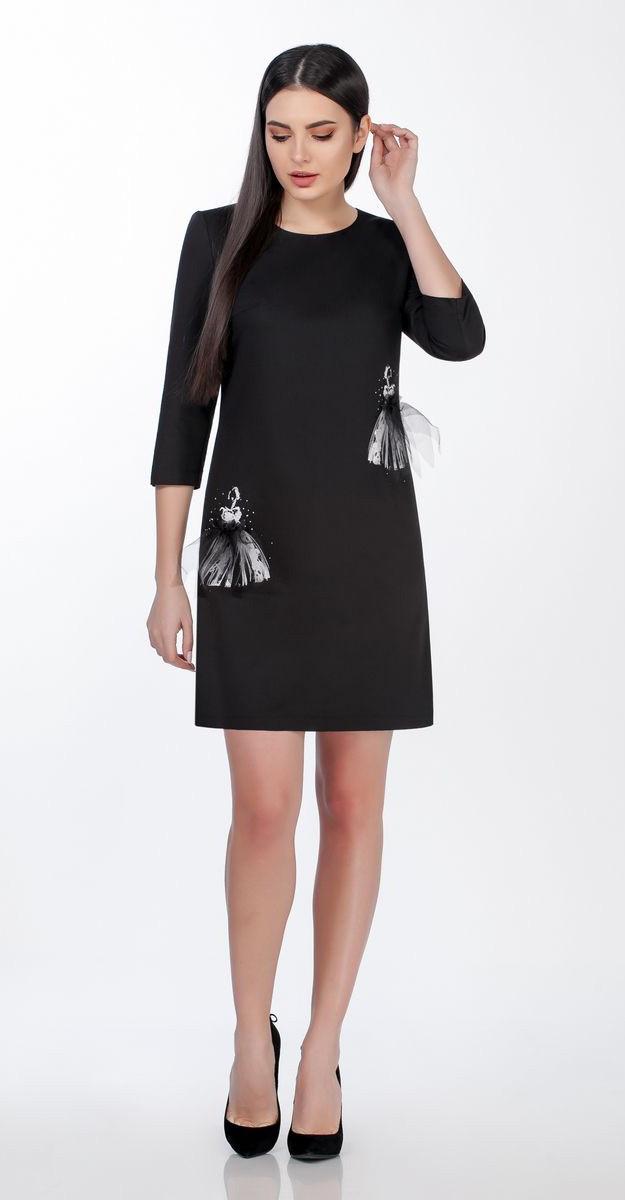 Платье Теллура-Л-1485/1 белорусский трикотаж, черный, 44