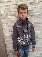 Толстовка для мальчиков на байке Серая размеры: 110,128