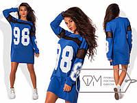 Молодежное крутое стильное короткое трикотажное прямое платье свободного кроя в спортивном стиле.  Арт-2843/23, фото 1