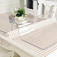Прозрачное плотное покрытие на стол 3 мм, мягкое стекло, м'яке скло ширина 1 м