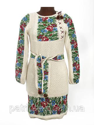 Женское вязаное платье Маки и васильки с вставкой | Жіноче вязане плаття маки і волошки із вставкою, фото 2