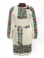 Женское вязаное платье Маки и васильки с вставкой | Жіноче вязане плаття маки і волошки із вставкою