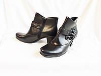 Ботинки женские демисезонные кожаные черные полусапожки ботильоны Clarks (размер 38, UK6, EU39)