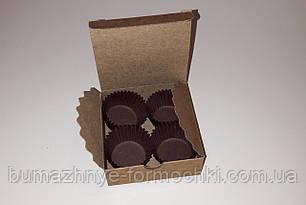 Коробочка для 4-х конфет ручной работы, крафт, 83*83*30