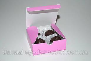 Коробочка для 4-х конфет ручной работы, розовая, 83*83*30