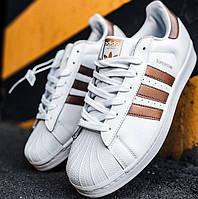 Мужские Кроссовки Adidas Superstar White Gold 1в1 Как Оригинал! ТОП (ААА+)