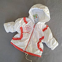 """Куртка детская весенняя  для девочки """"Цветочек"""" белая с кораллом р. 74 см, 80 см, 86 см."""