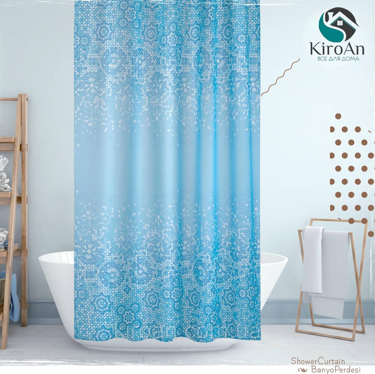 Тканевая занавеска в ванную Jackline 180*200 см Турция (цвет голубой с синим,мозаика) Blue Mosaic