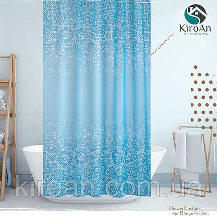 Тканевая занавеска в ванную Jackline 180*200 см Турция (цвет голубой с синим,мозаика) Blue Mosaic, фото 2