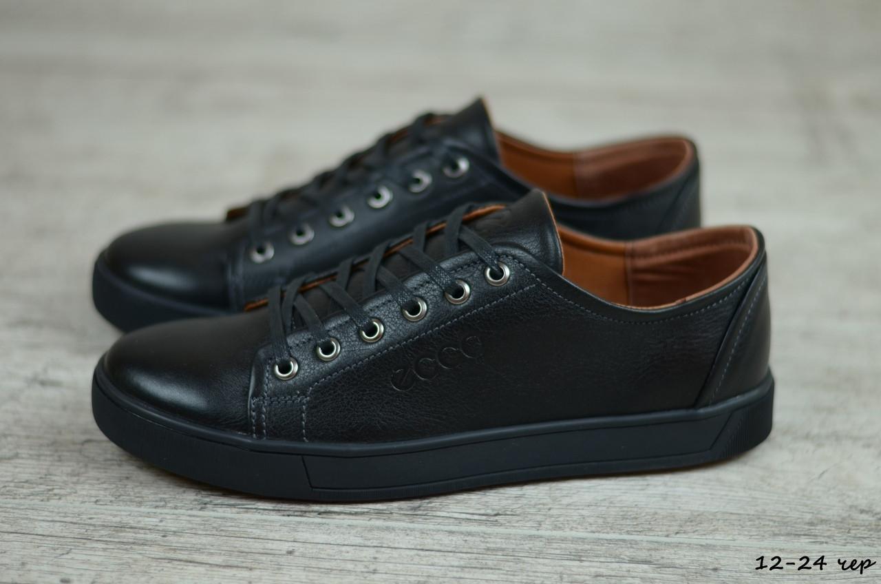 Мужские кожаные кроссовки, кеды Ecco (Реплика) (Код: 12-24 чер  ) ►Размеры [40,41,42,43,44,45]
