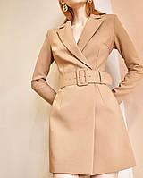 Платье-пиджак женское короткое из габардина на запах под пояс (К29649)