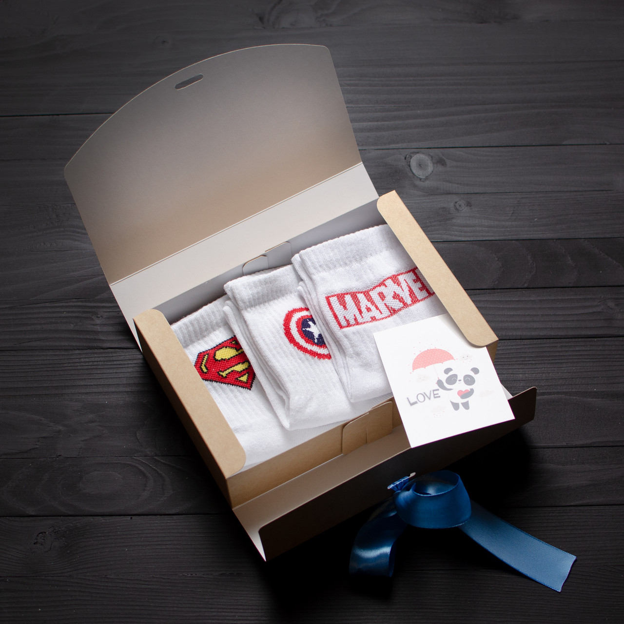 Подарочный набор мужской носки 3 шт. Superman, Marvel звезда, MARVEL белый
