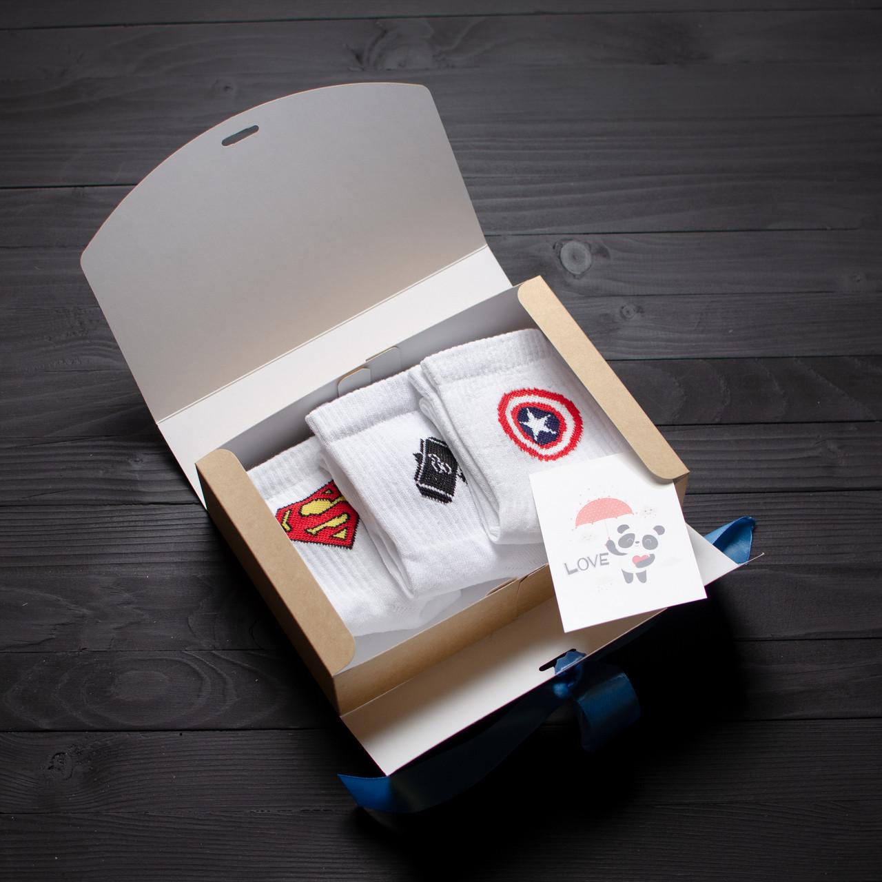 Подарочный набор мужской носки 3 шт. Superman, Marvel звезда, Молот Тора