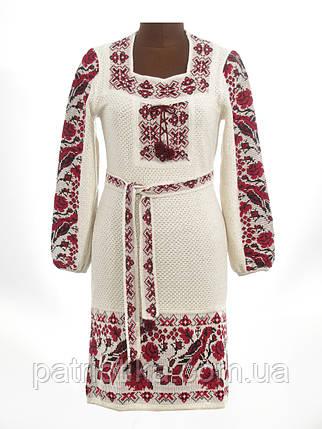 Платье вязаное женское Птички с вставкой| Плаття вязане жіноче Пташки з вставкою, фото 2