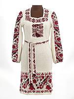 Платье вязаное женское Птички с вставкой  Плаття вязане жіноче Пташки з вставкою