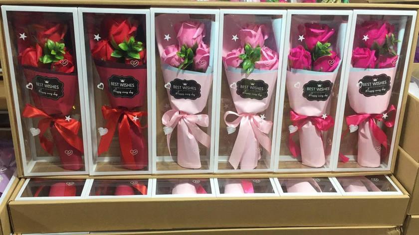 Только опт!!! Букет роз из мыла 3шт в подарочной упаковке best wishes, фото 2