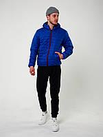 Комплект мужской демисезонный Куртка + штаны + Скидка   весенний осенний черно-синий до 0*С