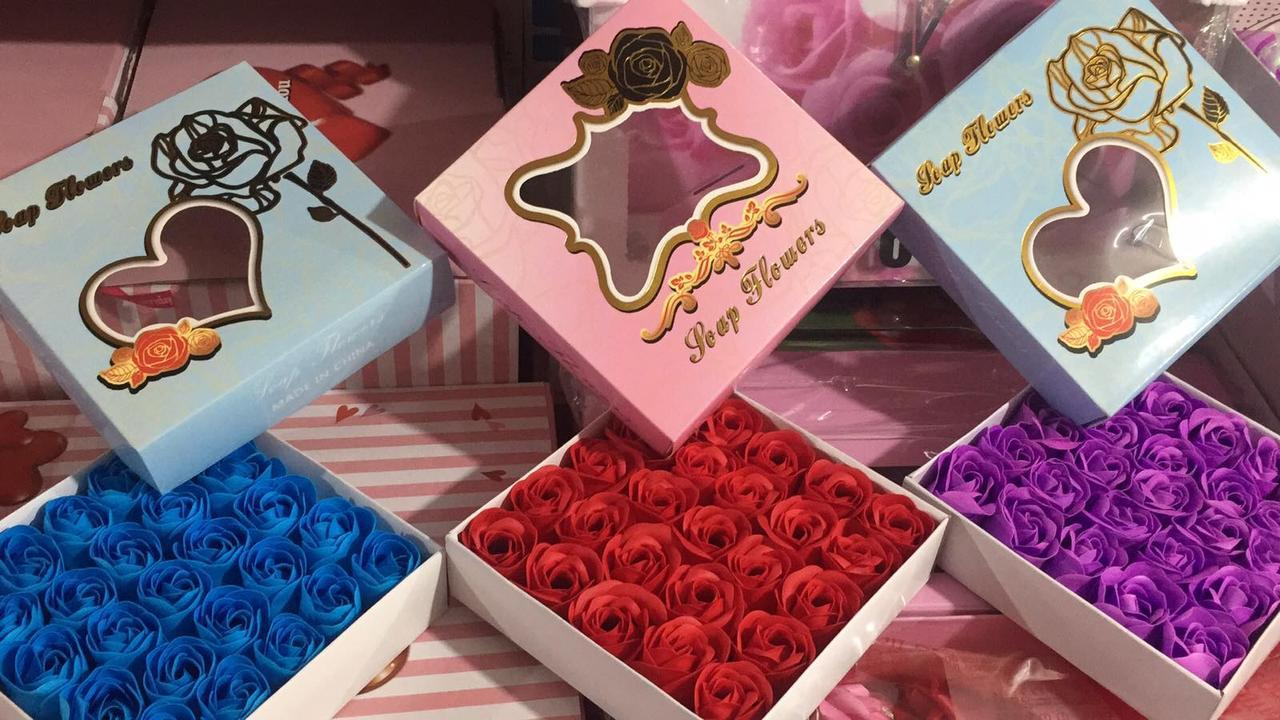 Мыло в форме розы в подарочной коробке 25шт 2