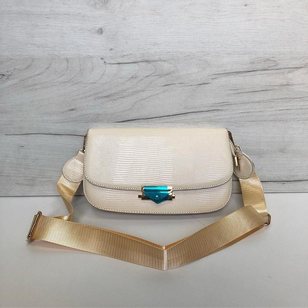 Сумка овальной формы с широким ремешком на плечо (0489) Белый