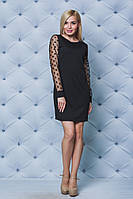 Короткое женское платье с рукавами сетка