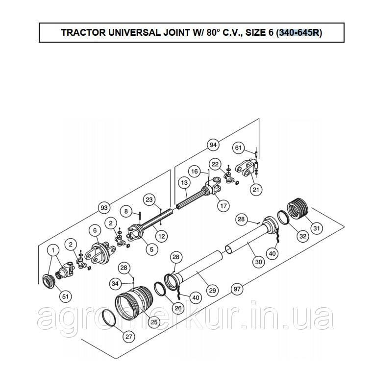 Вал карданний 1-3/8Z8 SCHULTE 340-645R