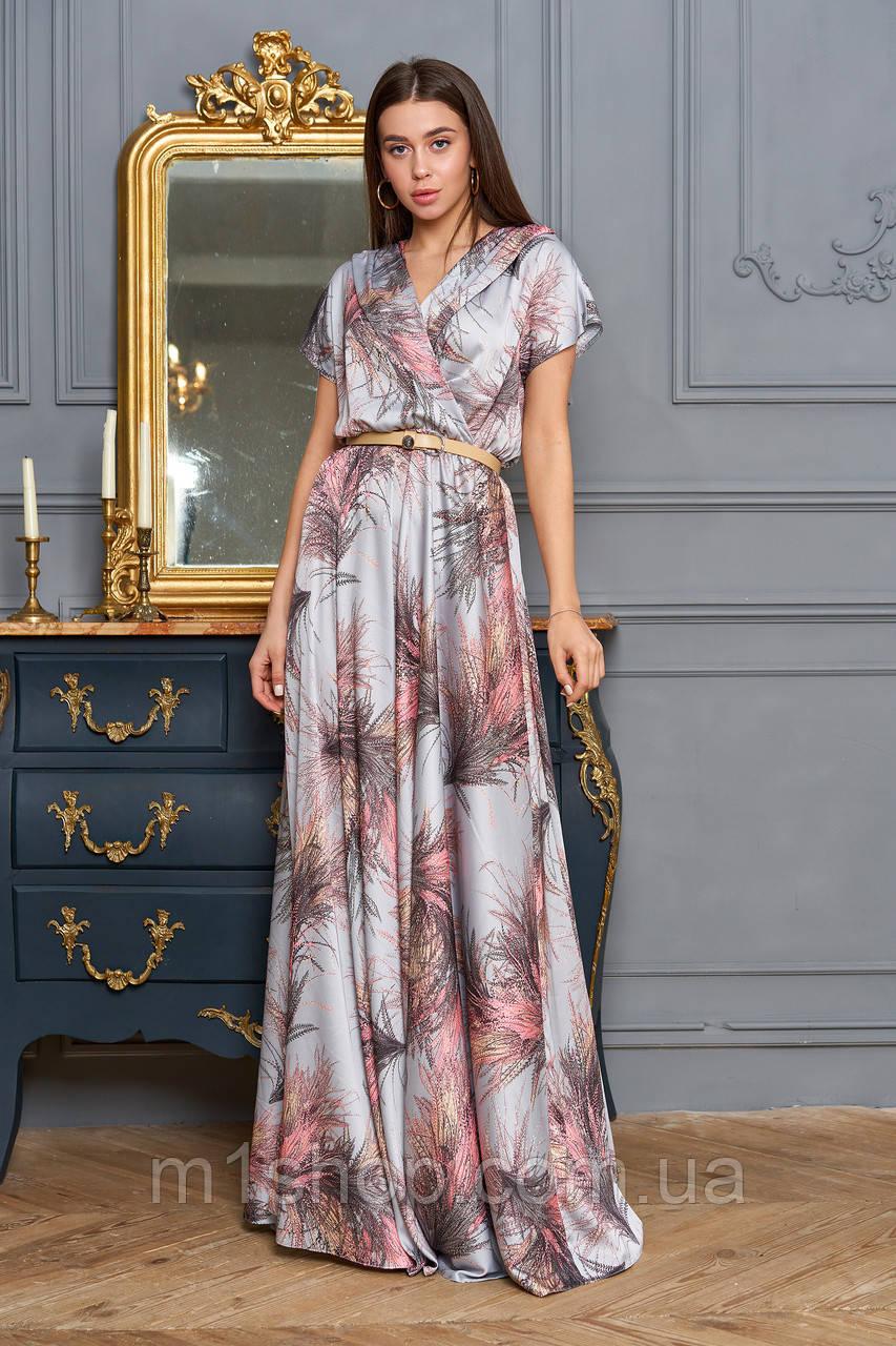 Женское платье в пол с принтом цветов (Нора jd)