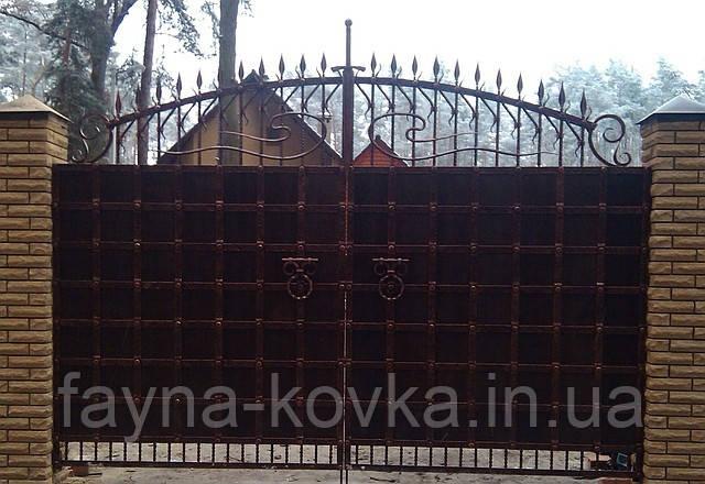 Кованные ворота 251 (металл+дерево или только металл)
