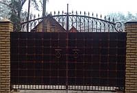 Кованные ворота 251 (металл+дерево или только металл), фото 1