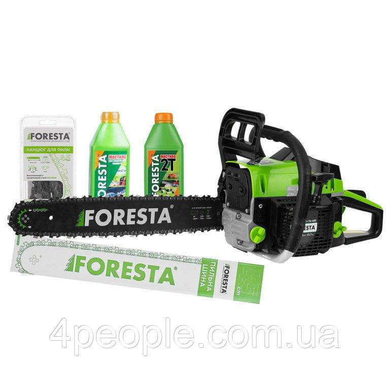 Бензопила цепная Foresta FA-48S + Пильная шина + Цепь + 2 масла|СКИДКА ДО 10%|ЗВОНИТЕ