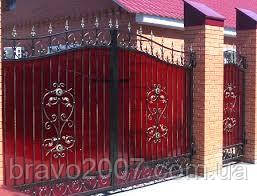 Ворота распашные из профнастила с калиткой