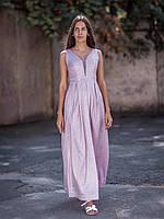 Вечернее светлое люрексовое платье с оригинальным дэкольте (S, M)