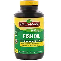 Омега-3 300 mg Nature Made, Рыбий жир, 1000 мг, 250 мягких таблеток