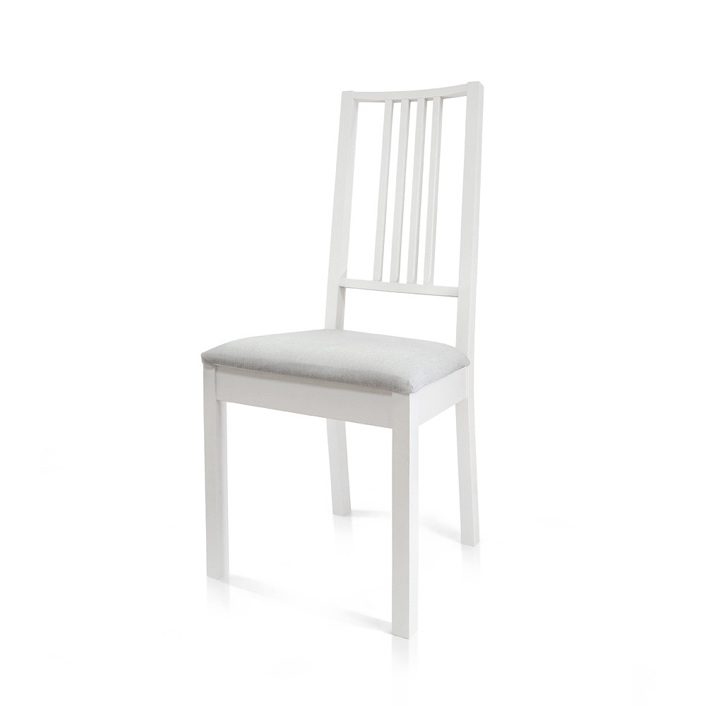 """Стілець """"Проза"""", бук, м`яке сидіння (сірий), білий"""