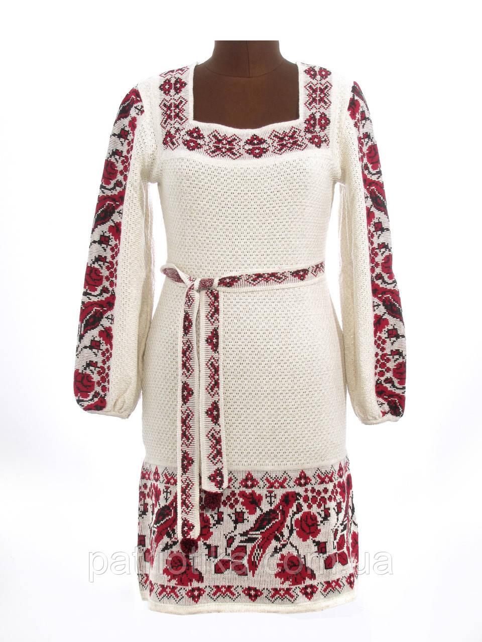 Платье-вышиванка вязаное Птички | Плаття-вишиванка вязане Пташки