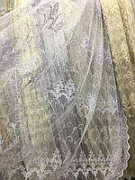Белоснежная тюль на фатиновой основе с вышивкой корд (шнуром)