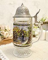 Коллекционная пивная кружка, немецкий бокал для пива с оловянной крышкой, Германия, фото 1