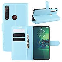 Чехол Luxury для Motorola Moto G8 Plus (XT2019) книжка голубой