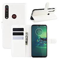 Чехол Luxury для Motorola Moto G8 Plus (XT2019) книжка белый