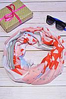 Красный шарф снуд из хлопка в абстракцию