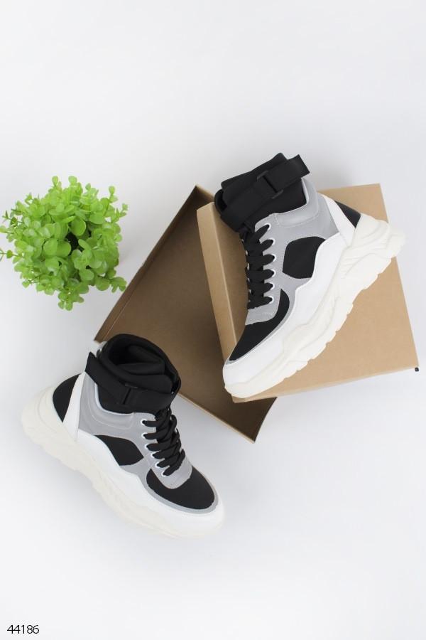 Женские кроссовки ДЕМИ черные с серым эко-кожа
