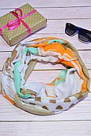 Оранжевый шарф снуд из хлопка в абстракцию, фото 1