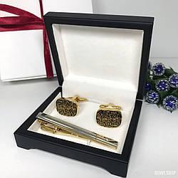"""Чоловічий набір запонки та затискачі для краватки """"Aulic"""" Premium, золотистий."""
