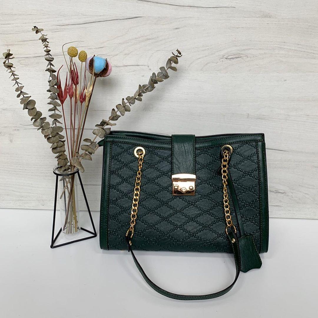 Большая сумка застежка на клапане (0377) Зеленый